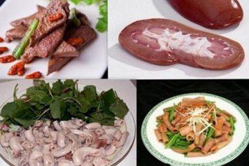 Nội tạng động vật và các loại thịt đỏ
